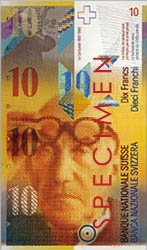Le Corbusier on a Swiss 10 Francs banknote