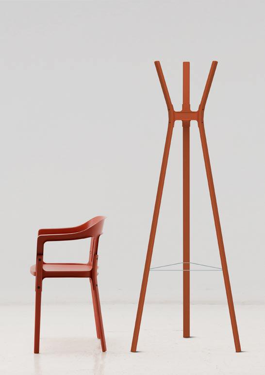 Steelwood Coat Hanger and Chair by Ronan and Erwan Bouroullec for Magis
