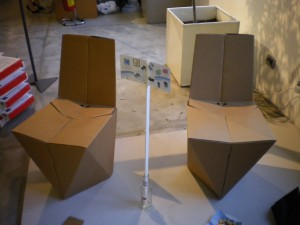 Foldable cardboard chair by Stuart Miller at deignersblock, Milan