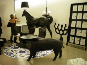 Horse Lamp and Pig Table by Front in the new moooi space in New York