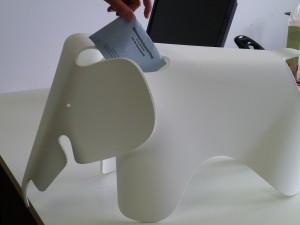 Vitra Eames Elephant in action as a ballot box