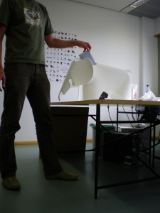 The smow polling station - Eiermann II Table from Richard Lampert and an Eames Elephant from Vitra