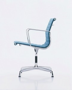 The EA 107 from the Charles and Ray Eames aluminium chair range through Vitra