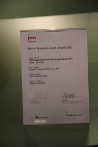 Interior Innovation Award 2010 presented to Richard Lampert