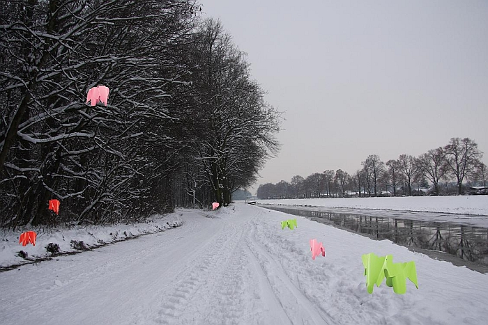 Vitra Eames Elephants prepare to ambush nordic walking pensioners in Leipzig