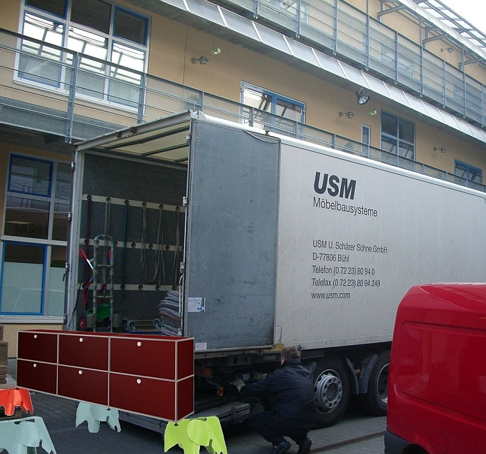 USM Haller being carried by Eames Elephants into the (smow)warehouse