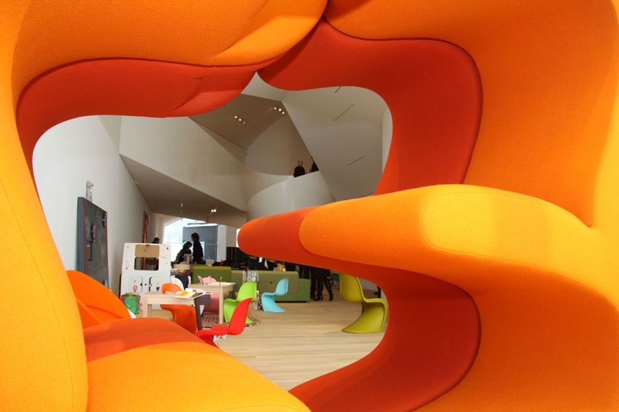 Vitrahaus: As seen through a Living Tower from Verner Panton