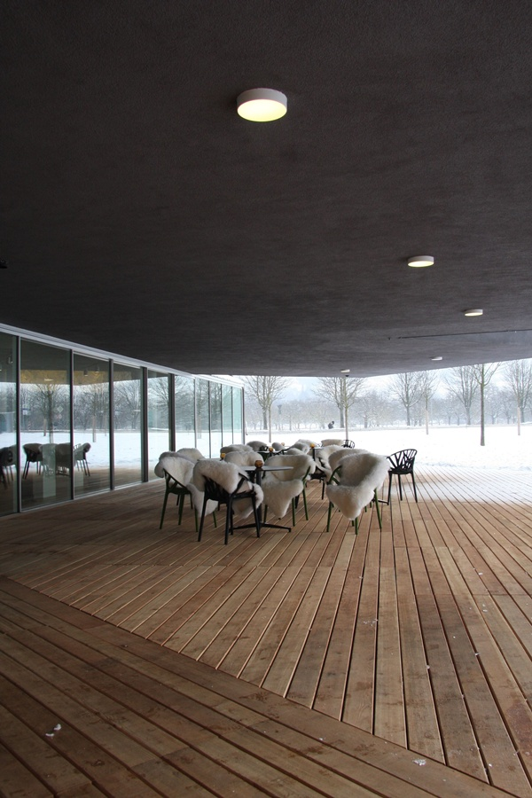The less-spotted wooly Vegetal graze on the VitraHaus Cafe Terrace