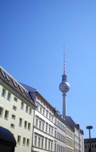 The Berlin satelite memorial towers over Berlin-Mitte