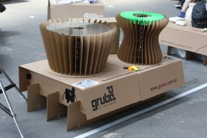 Coffee table and stool by Gruba