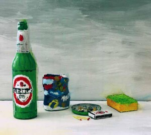 Still life with beer by George Brückmann. The objects are real, have been painted and then photographed