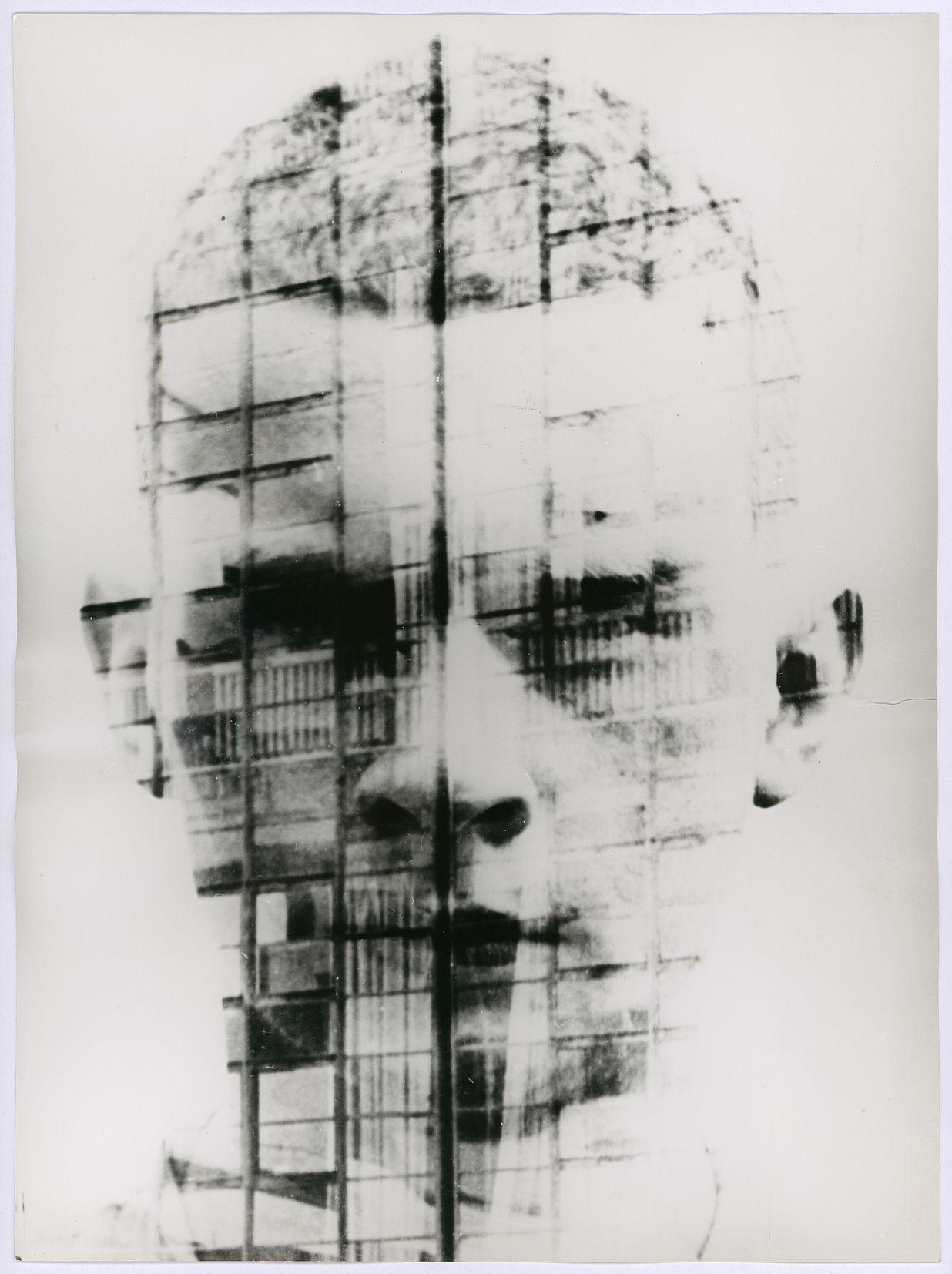 Hajo Rose: A self-portrait combined with the facade of Bauhaus Dessau