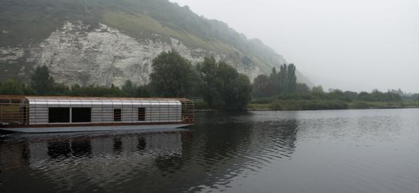 La Maison Flottante. A floating house the Bouroullec's designed in 2006 for for resident artists in the CNEAI - Centre National de l'estampe et de l'art imprimé