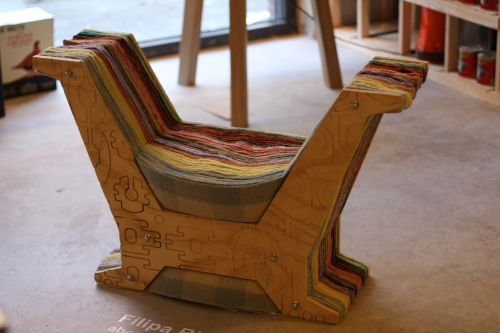 About Waste by Filipa Ricardo - made from industrial waste. Nice enough idea, just not sure if the wool elements are supported enough....