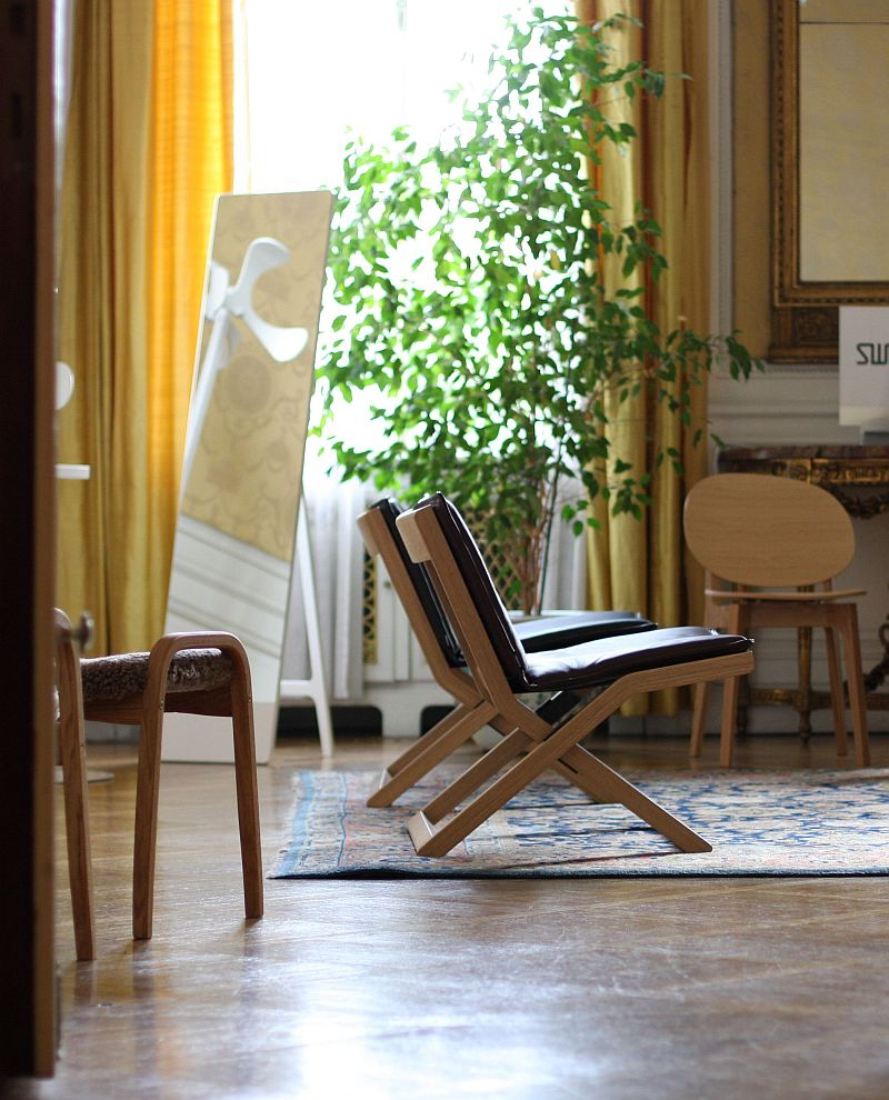 In the foreground Crusier by Marina Bautier in the background Olive Wood Chair by Claesson Koivisto Rune both from swedese