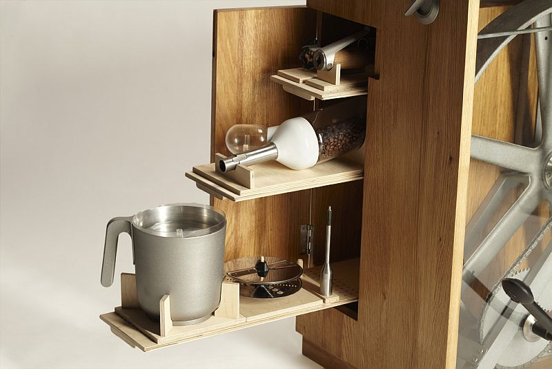 The various utensils can be stored within the body
