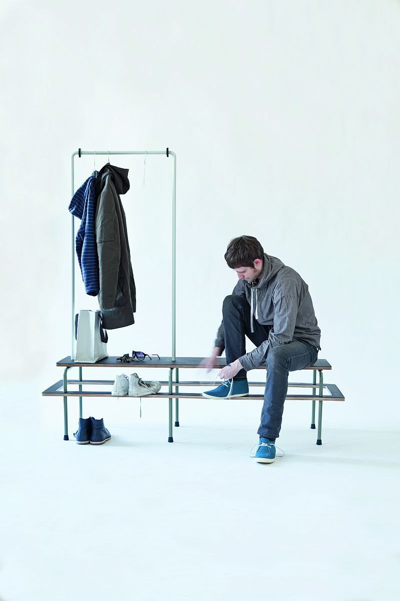 Wardrobe Bench by Stephan Schulz and Paul Evermann in use