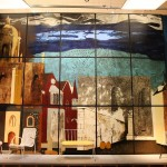 "A section from ""The Englishman's Home"" by John Piper greets visitors to British Design 1948-2012 Innovatio"