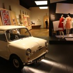 V&A Museum London. British Design 1948-2012: Innovation in the Modern Age. Mary Quant dresses and a Morris Mini Minor