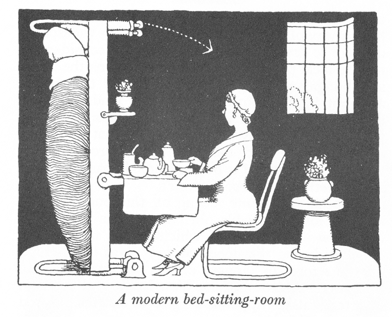 How to live in Flat W Heath Robinson and K R G Browne bed sitting room