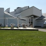 The dynamic Netscape installation by Konstantin Grcic in front of the Vitra Design Museum, Weil am Rhein