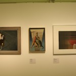 Works from the fine art class. From Left to Right: Gelber Pfeil by Eugen Batz, Der Kampf by Hans Thiemann and Untitled by Hajo Rose