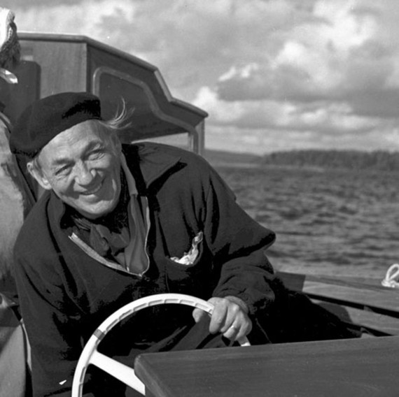 Alvar Aalto on his boat Nemo Propheta