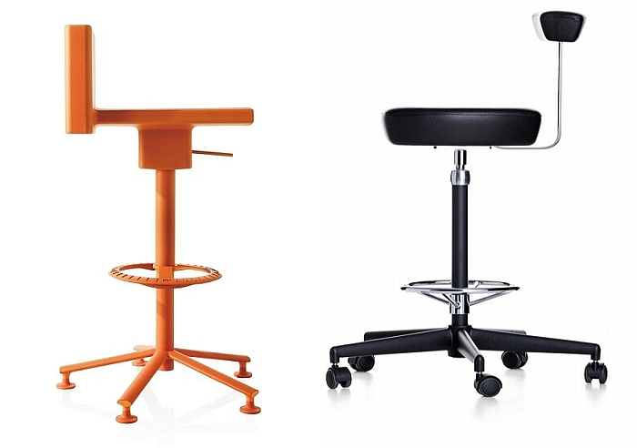 The 360° Stool by Konstantin Grcic for Magis (2009) and the Nelson Perch by George Nelson through Vitra (1964)