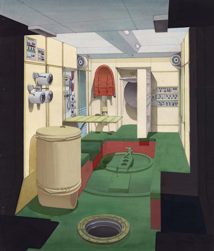 Design of cabin of Mir space station, Final version of interior design (1980) © Archive Galina Balaschowa