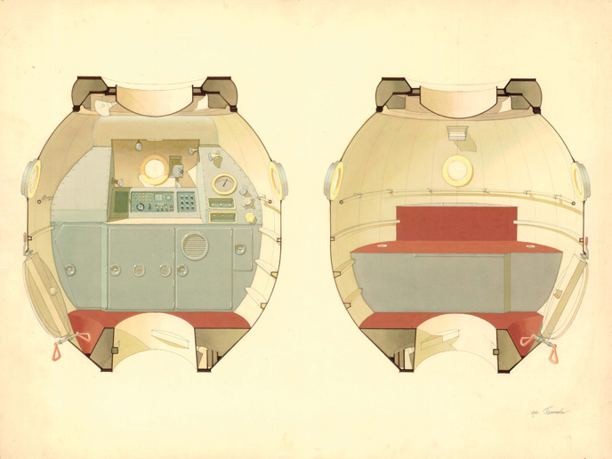 Colour study for the residential area of the Sojus-M space shuttle (1970–1974, design not realised) © Archive Balaschowa