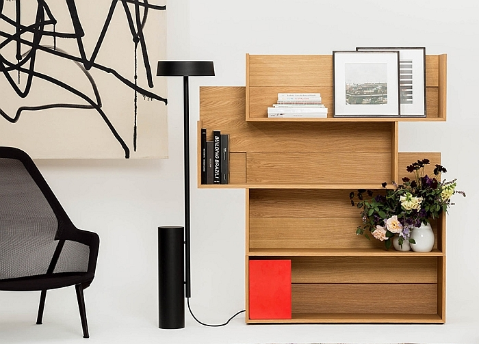 The Shift shelf by New Tendency & December Lamp by Sebastian Schönheit, both through New Tendency
