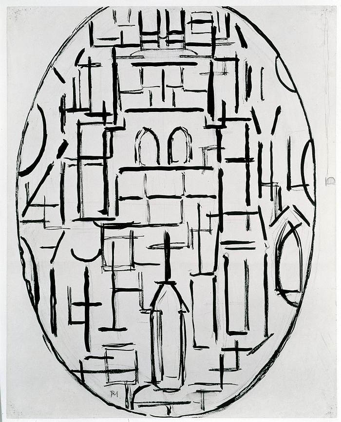 Piet Mondrian (1872 – 1944): Kirchenfassade 1: Kirche in Domburg