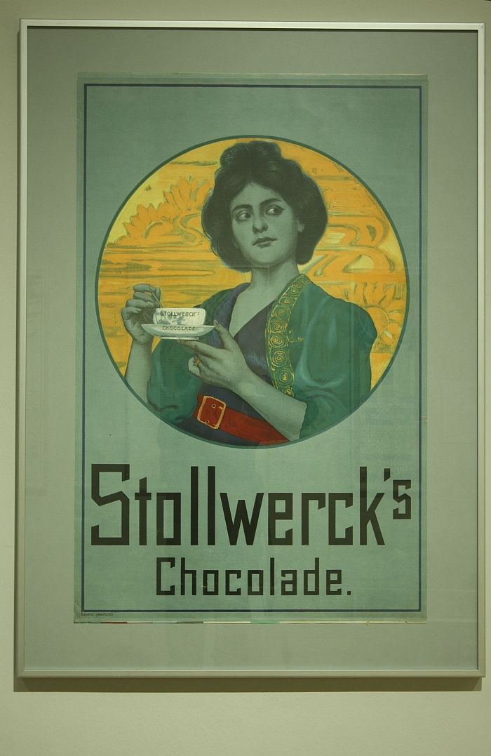 Art Nouveau advertising for Stollwerck's chocolate, as seen at Art Nouveau The Great Utopian Vision, the Museum für Kunst und Gewerbe Hamburg