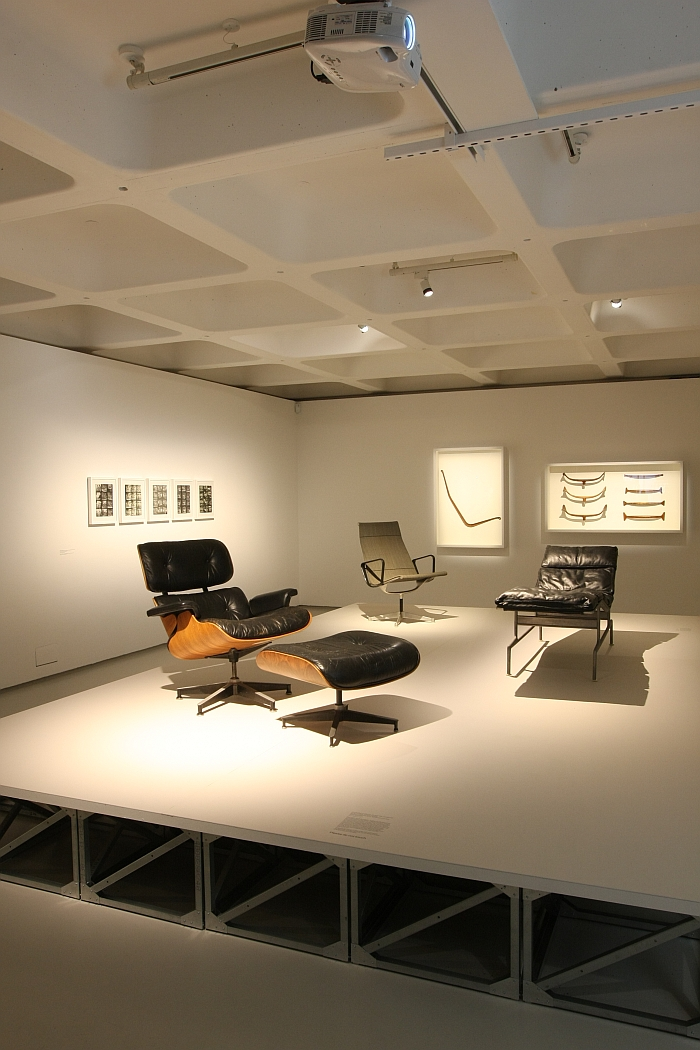 Vitra Eames Lounge Chair, Soft Pad Chaise and Aluminium Chair, as seen at The World of Charles and Ray Eames, Barbican Art Gallery London