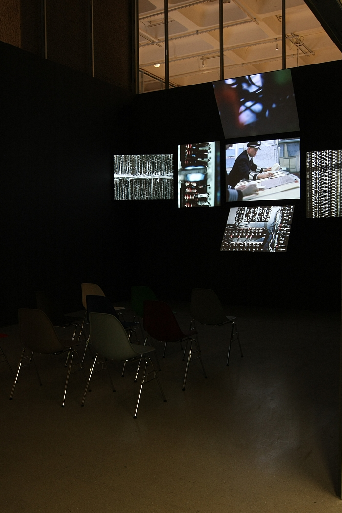 The film Think from the Eames created Information Machine pavilion for IBM at the 1964-65 New York Worlds Fair, as seen at The World of Charles and Ray Eames, Barbican Art Gallery London