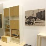 Part of an MDW 80 sideboard from 1982, and a photo of Halle-Neustadt, as see at Moderne in der Werkstatt - 100 Years Burg Giebichenstein Kunsthochschule Halle, Kunstmuseum Moritzburg, Halle