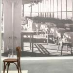 A chair of the type used in the restaurant of Halle-Leipzig airport, as see at Moderne in der Werkstatt - 100 Years Burg Giebichenstein Kunsthochschule Halle, Kunstmuseum Moritzburg, Halle