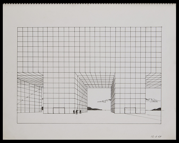 Adolfo Natalilni (Superstudio), Study for the Continuous Monument, 1969. (Photo © The architect, Courtesy of S AM Schweizerisches Architekturmuseum)