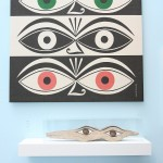 """Triple Eyes from 1971 and a wooden """"version"""" (undated ), as seen at Alexander Girard. A Designer's Universe, Vitra Design Museum"""