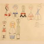 Original Wooden Doll sketches by Alexander Girard, as seen at Alexander Girard. A Designer's Universe, Vitra Design Museum