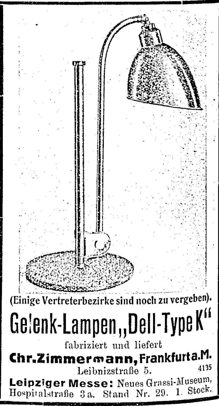 Dell-Lamp Type K by Christian Dell through Zimmermann GmbH, Frankfurt (Advert in context of the 1930 Leipzig Frühjahrsmesse)