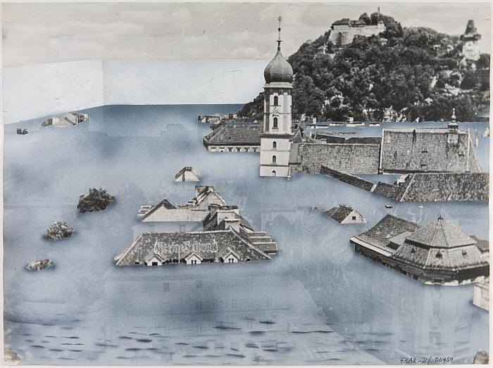 Superstudio, Graz under water,  1971. (Photo © The architects, Courtesy of S AM Schweizerisches Architekturmuseum)