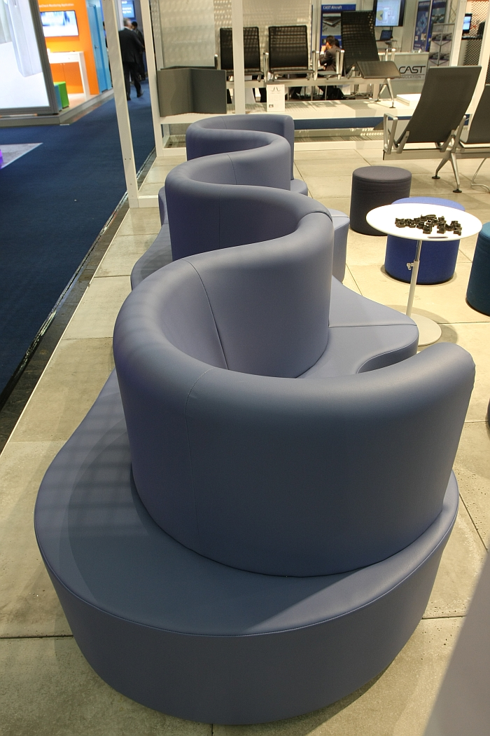 Not linear. Cloverleaf modular sofa concept by Verner Panton through Verpan, as seen at Passenger Terminal Expo 2016 Cologne