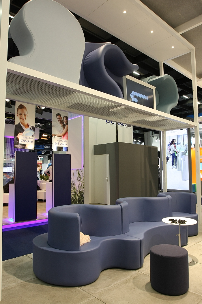 Cloverleaf modular sofa system by Verner Panton through Verpan, and distributed to airports via Vitra, as seen at Passenger Terminal Expo 2016 Cologne