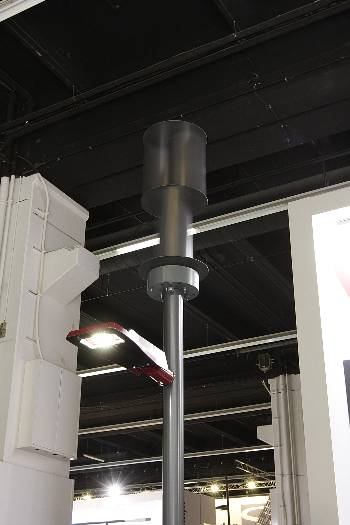 Wind powered street lighting from Vulkan, as seen at Light + Building Frankfurt 2016