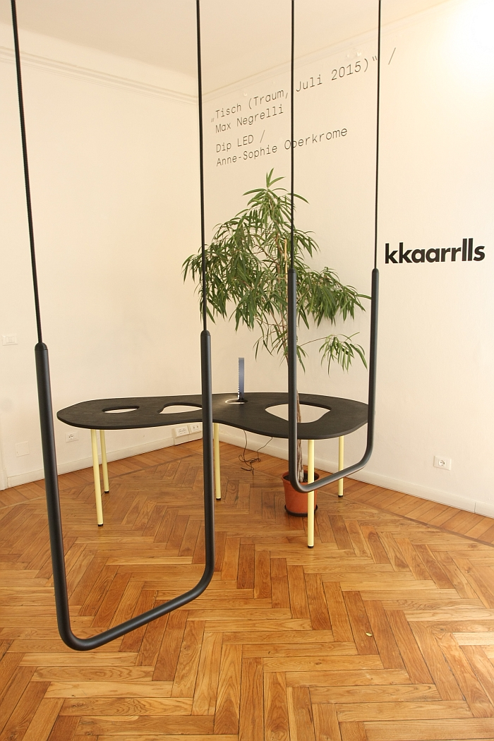 The swing As High As Best by Oliver-Selim Boualam & Lukas Marstaller, table Traum by Max Negrelli & Dip LED lamp by Anne-Sophie Oberkrome, as seen at kkaarrlls 2016, Milan