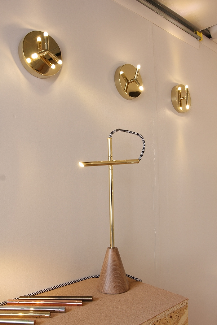 Pivot Table Lamp & Ursa Sconces by McKenzie & Keim, as seen at  Guerrilla Truck Show, NeoCon Chicago 2016