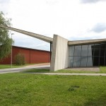 The Vitra Fire Station holding a proterctive arm over the Vitra Schaudepot