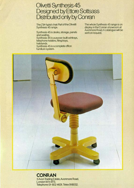 The Z9R typist chair by Ettore Sottsass for Olivetti, as seen in an original 1970s advert (Photo © and courtesy www.storiaolivetti.it - Associazione Archivio Storico Olivetti, Ivrea, Italy)
