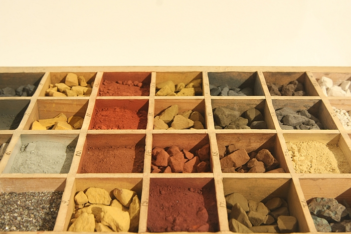 An 18th century collection of coloured earth from the Erzgebirge region of Sachsen, as seen at Object Lessons. The Story of Material Education in 8 Chapters at the Werkbundarchiv Museum der Dinge Berlin